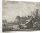 Spotted cow lying on a wooden post by Jacobus Cornelis Gaal