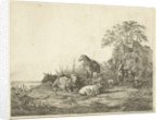 shepherd and shepherdess with herd of cattle by Pieter Gaal