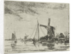 A river view with some boats by Jacobus van Gorkom Jr