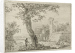 Landscape with ruins and four figures, in the foreground is a tree by Cornelis Ouboter van der Griendt