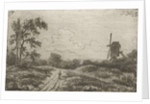 Figure on a road at a mill by Hendrik Jan Hein