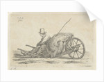 Seated man with a wheelbarrow with hay by Anthonie Willem Hendrik Nolthenius de Man