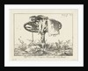 A wagon wheel on a tree trunk, some clothing, jug, tub, chicken by Anthonie Willem Hendrik Nolthenius de Man