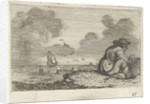 Dune landscape with a man sitting near a basket by Gillis van Scheyndel I Jan Porcellis
