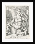 Taste Gustus, a woman with fruits by Hendrick Hondius I