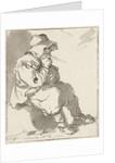 Man sitting on stone by Hermanus Fock