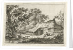 A landscape with a wooden thatched farmhouse, in the grass is a woman with a child, near a large tree runs a dog by Hermanus Fock