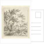 Landscape with wood gatherer by Hermanus Fock