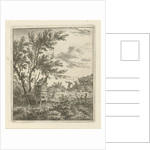 A landscape with a wooden building under a tree by the water by Hermanus Fock
