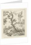 Landscape with shepherd on hill by Hermanus Fock