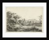 Hill landscape in the foreground with two sheep by Hermanus Fock