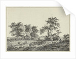 Landscape with cartoonist and dog by Hermanus Fock