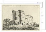 View of ruins, in the shadows are a man and a woman with a dog in the grass by Hermanus Fock