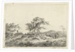 Landscape with rider and pedestrian by Hermanus Fock