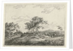A hilly landscape with a tree in the middle party by Hermanus Fock