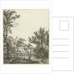 Landscape with woman at waterfront by Hermanus Fock