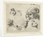 Study Sheet with heads and horsemen by Karel Dujardin