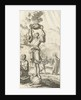 Figure stands on an orb and holds a smoking sacrifice dish in the air by Jurriaen van Poolsum