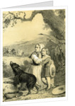 Child Dog 19th Century Woman Hat Country Side Tree Horses by Anonymous