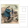 Farmer Child 19th Century Chicken Spade Country Side France by Anonymous