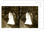 A western Red Cross female doctor(?) and two Japanese women posed in a garden by Anonymous
