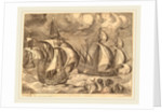 Three Caravels in a Rising Squall with Adrion on a Dolphin, 1565 by Frans Huys