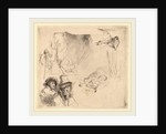 Sheet of Studies including a Woman Lying Ill in Bed by Rembrandt van Rijn