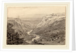 Goats Resting above a River Gorge by Edward Lear