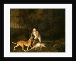 Freeman, the Earl of Clarendon's gamekeeper, with a dying doe and hound by George Stubbs