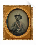 Fireman in Uniform Holding a Brass Musical Instrument by Anonymous