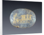 Glass gem with gold foil ornament by Anonymous