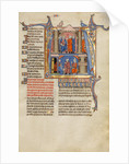 Initial A: Two Men before a King and A Man Speaking to a Family by Anonymous