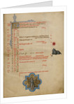 A Man Blowing Two Horns, Zodiacal Sign of Aries by Master of the Brussels Initials