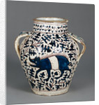 Relief-Blue Jar with Running Boars by Anonymous