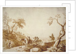 Landscape with Travellers, Two Riding in a Carriage Driven by a Postilion and a Third on Horseback behind by Marco Ricci