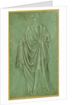 A Draped Figure Holding a Book by Anonymous