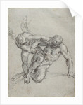 Cupid Overpowering Pan (recto), Head of a Monk, Caricature of a Man in Profile (verso) by Agostino Carracci