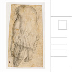 Study of a man's right hand (recto), Studies of four heads and of a nude figure seen from the rear (verso) by Agnolo Bronzino