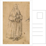 Standing Woman Holding a Muff, Turned Slightly to the Right (recto), Studies of Heads (verso) by Pietro Longhi