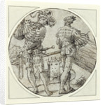 A Flutist and Drummer Before a Moated Castle by Master of the Berlin Roundels