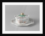 Butter dish on saucer with a lid topped by a button in the shape of a snail by Anonymous