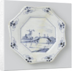 Plate, octagonal, painted with landscape by Anonymous