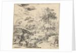 Landscape with a donkey rider by Jan van Nickelen