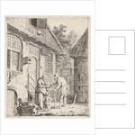 Courtyard with farmers, Johannes Christiaan Janson by Christina Chalon
