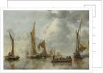 The Home Fleet Saluting the State Barge by Jan van de Cappelle