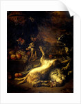 A Monkey and a Dog with Dead Game and Fruit by Jan Weenix