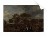 Farmstead with the Gentleman Farmer and his Wife and the Painter in the foreground by Jan Pietersz Opperdoes
