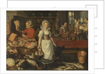 Kitchen Scene with the Parable of the Rich Man and Poor Lazarus by Pieter Cornelisz. van Rijck