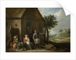 A peasant with his wife and child in front of the farmhouse by David Teniers