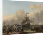 The IJ at Amsterdam with the Frigate De Ploeg, The Netherlands by Ludolf Bakhuysen